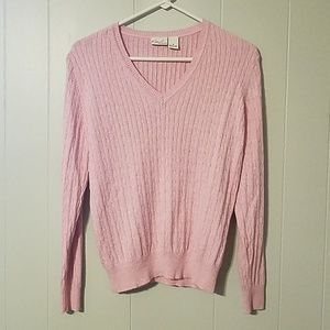 NWOT Kim Rodgers Pink v-neck sweater Baby Pink